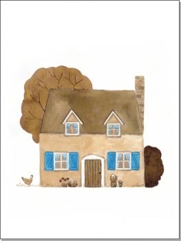 Haus mit blauen Gardinen