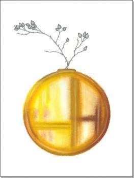 gelbe Vase mit Hagebuttenzweig