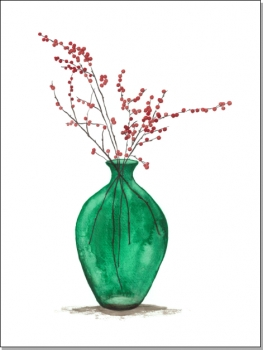 Grüne Vase mit roten Beeren